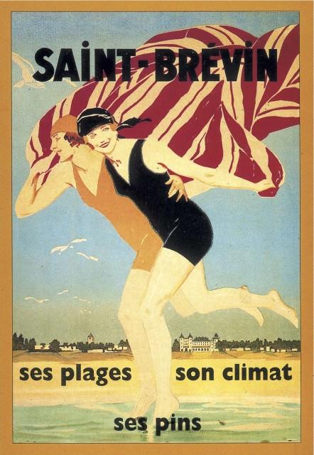 baigneuses-Affiche-ancienne-St Brevin-ses-plages-son-climats-ses-pins